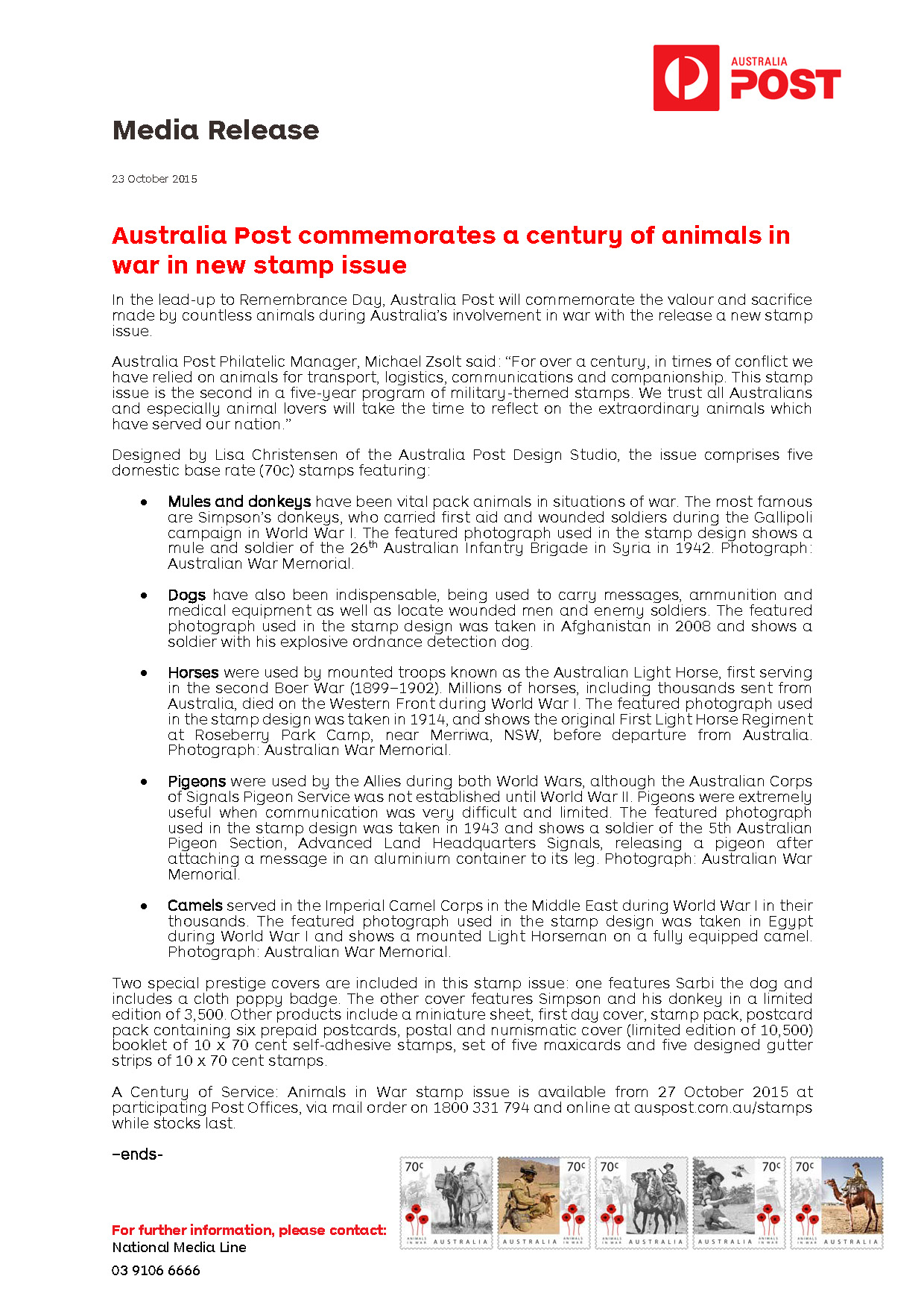 Media Release_A Century of Service - Animals in War_2015_FINAL